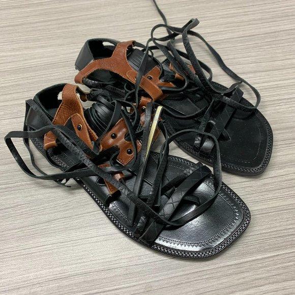 Zara Gladiator Leather Sandals Black Size 7